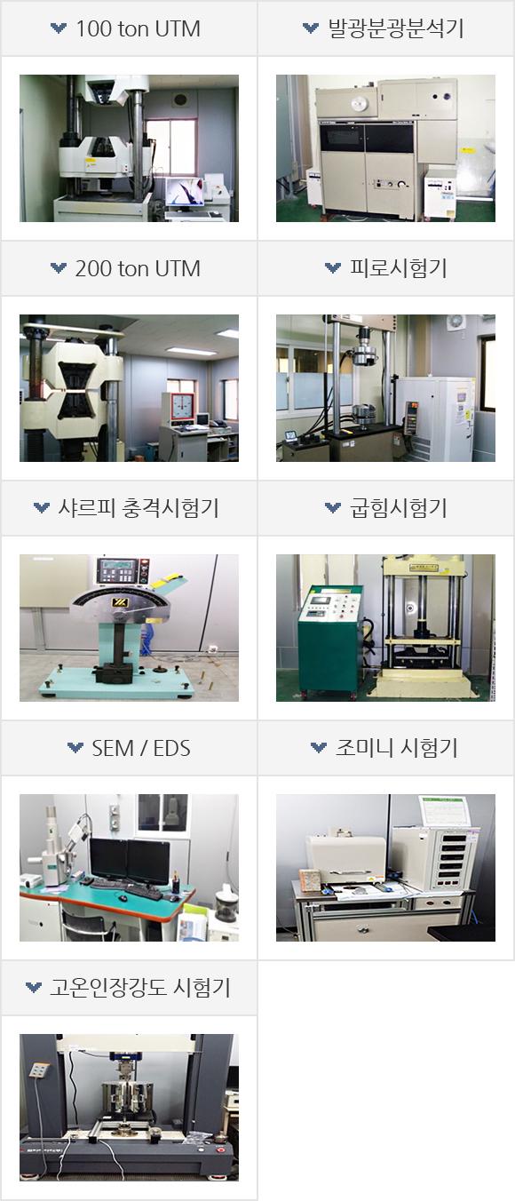 100 ton UTM, 발광분광분석기, 200 ton UTM, 피로시험기, 샤르피 충격시험기, 굽힘시험기, SEM / EDS, 조미니 시험기, 고온인장강도 시험기