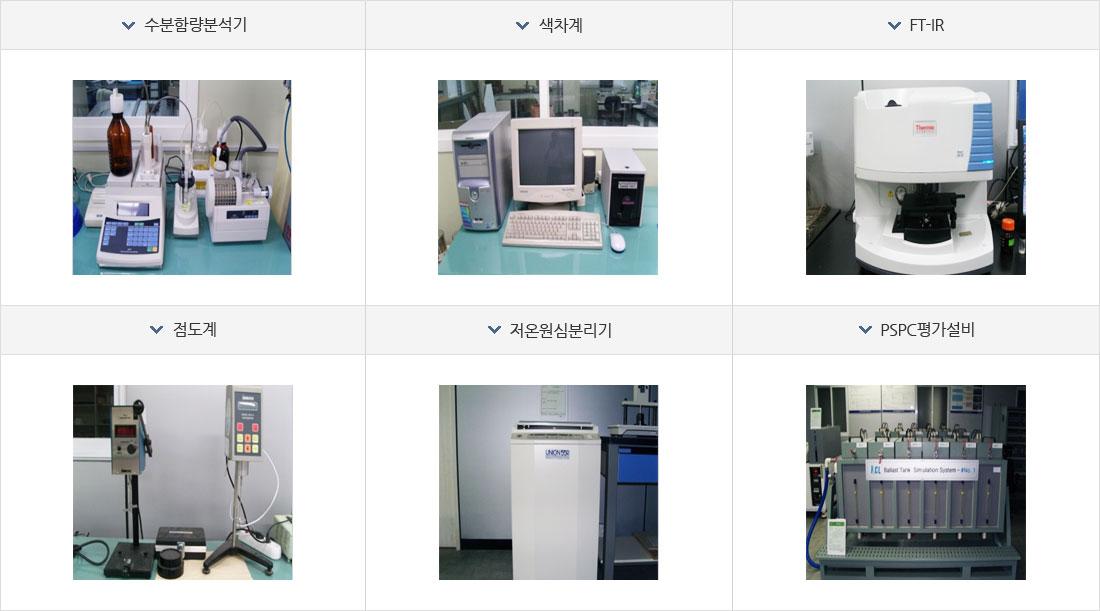 수분함량분석기, 색차계, FT-IR, 점도계, 저온원심분리기, PSPC평가설비